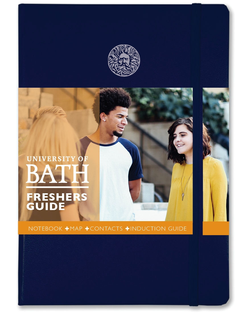 UNIVERSITY NOTEBOOK+  for fresher students at Bath featuring a foldout map with induction information