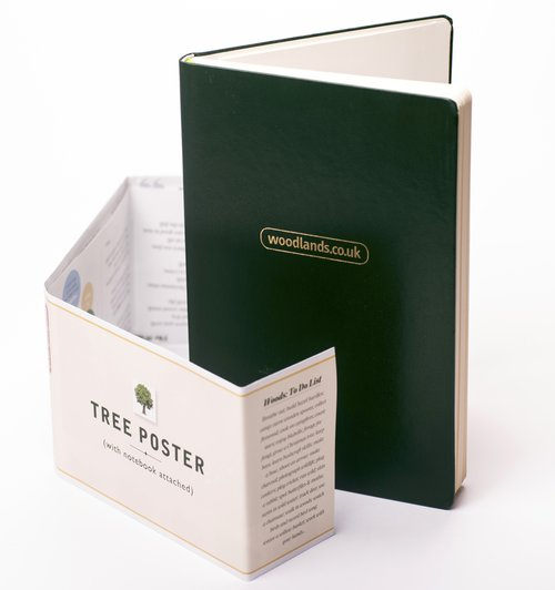 WOODLANDS NOTEBOOK+  featuring a A3 tree identification poster with woodland lore overleaf