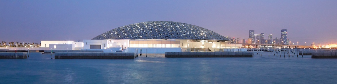 The Louvre Abu Dhabi and below the interior showing a section of the dome - photographs Hufton + Crow