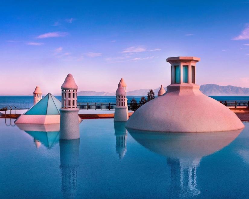 The outdoor pool at the Kempinski Hotel Barbaros Bay, Turkey.