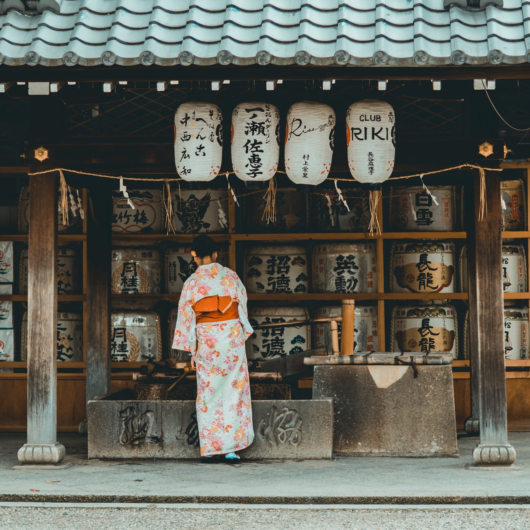 Sake barrels outside of a  izakayas  drinking den