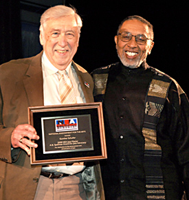 A.B. Spellman (right) with the 2008 recipient of the A.B. Spellman NEA Jazz Masters Award for Jazz Advocacy, Gunther Schuller (left). From Wikimedia Commons