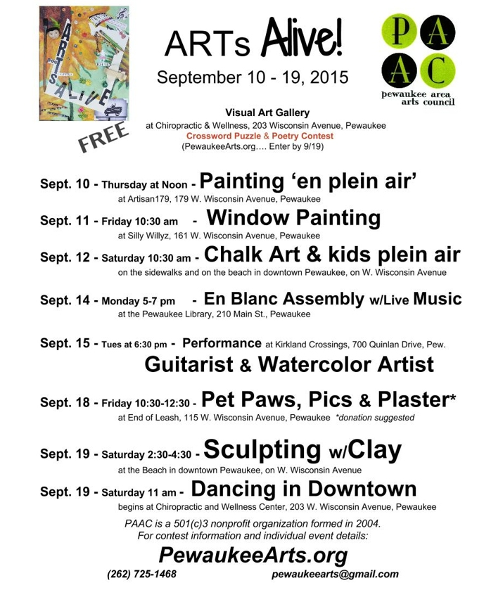 Click this image to view the entire ARTs Alive! schedule for the week of September 10th-19th.