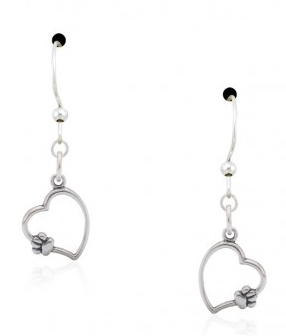 Sterling Silver Paws On My Heart Earrings