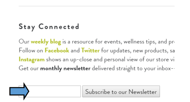 This is a screenshot of our Stay Connected section on our  main website page .