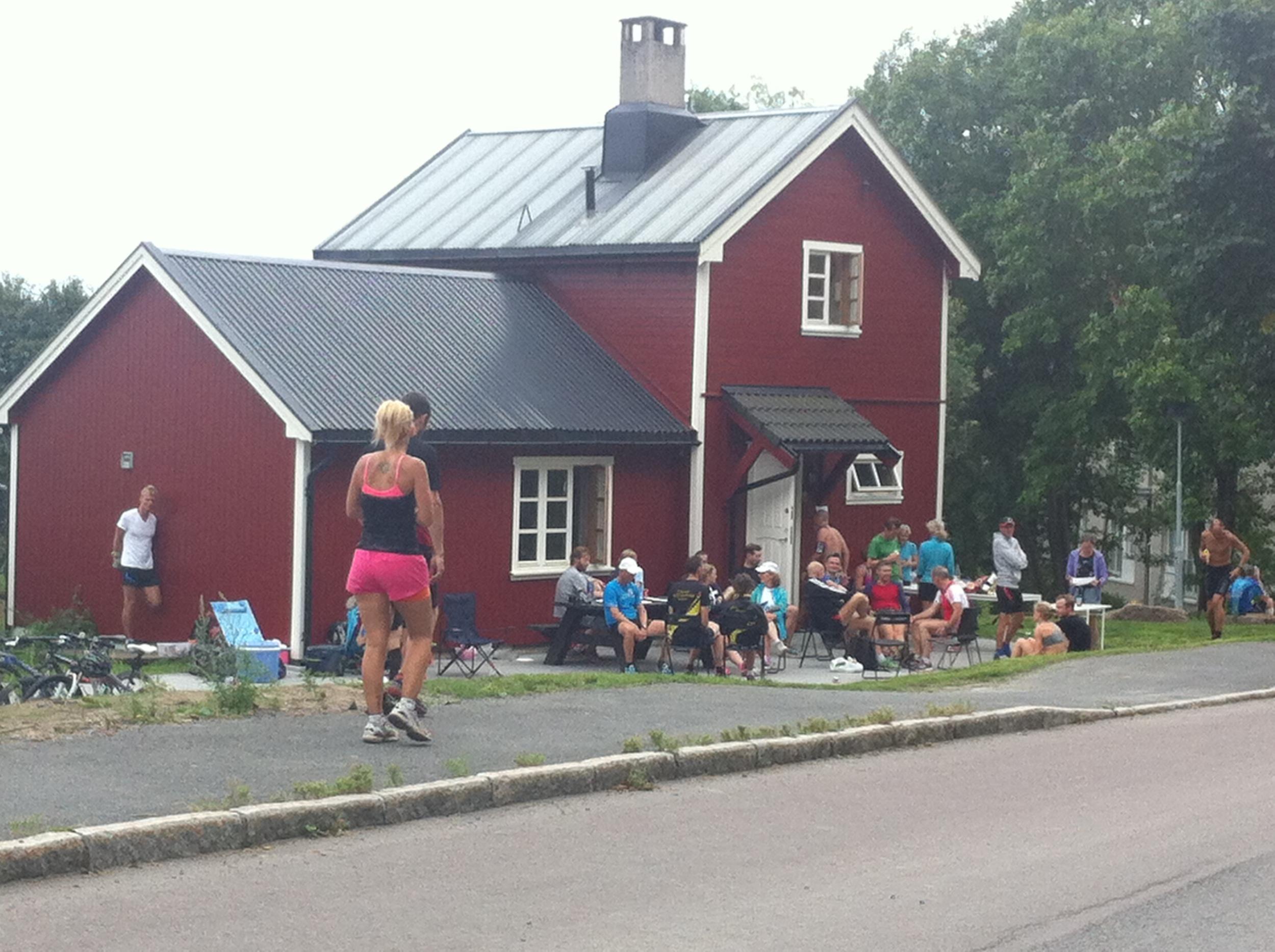 Start og mål ved Rabben; det røde huset i Gaustadveien