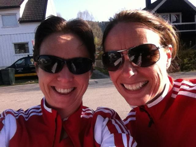 Anne og meg før start på halvmaraton 2014