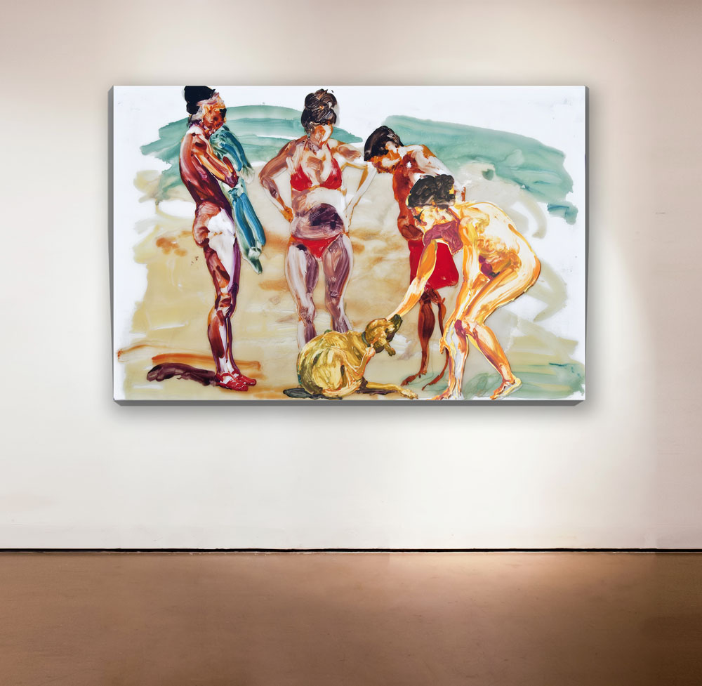 Untitled , 2013 Medium: Unique mixed-media composition: hand-painting with digital pigment prints on acetate in poured resin Dimensions: 40 x 60 inches Pencil signed, verso