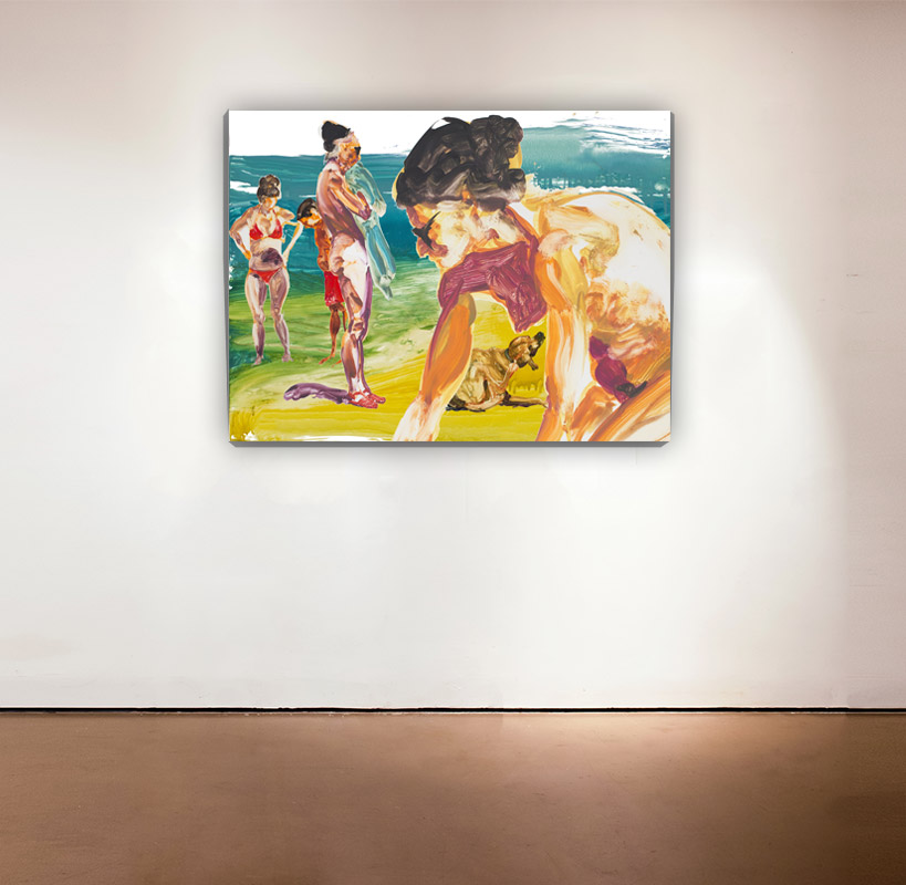 On the Beach - 3 , 2014 Medium: Mixed-mediapigment printwith poured resin Dimensions: 30 x 40 inches Pencil signed, verso