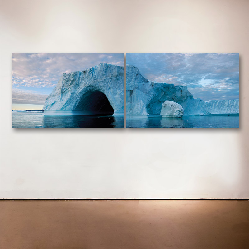 Greenland Isfjord Diptych, 2006  - 2015 Medium: Sublimation on Aluminum Dimensions: 24 x 72 inches (24 x 36 inches each) Edition of 6 + 2 Artist Proofs