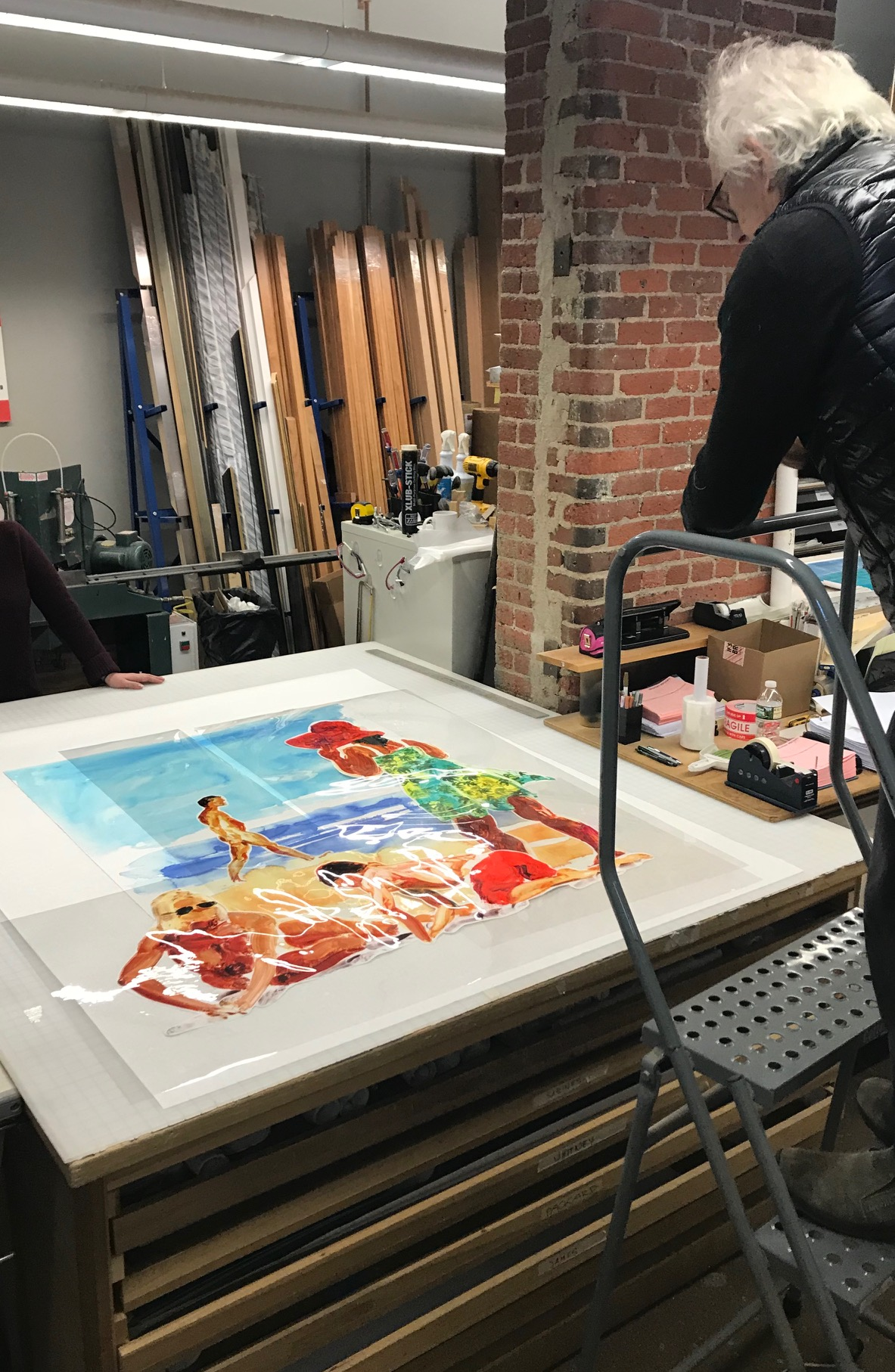 Eric Fischl working on new mylar compositions. Rhode Island Atelier, 2018