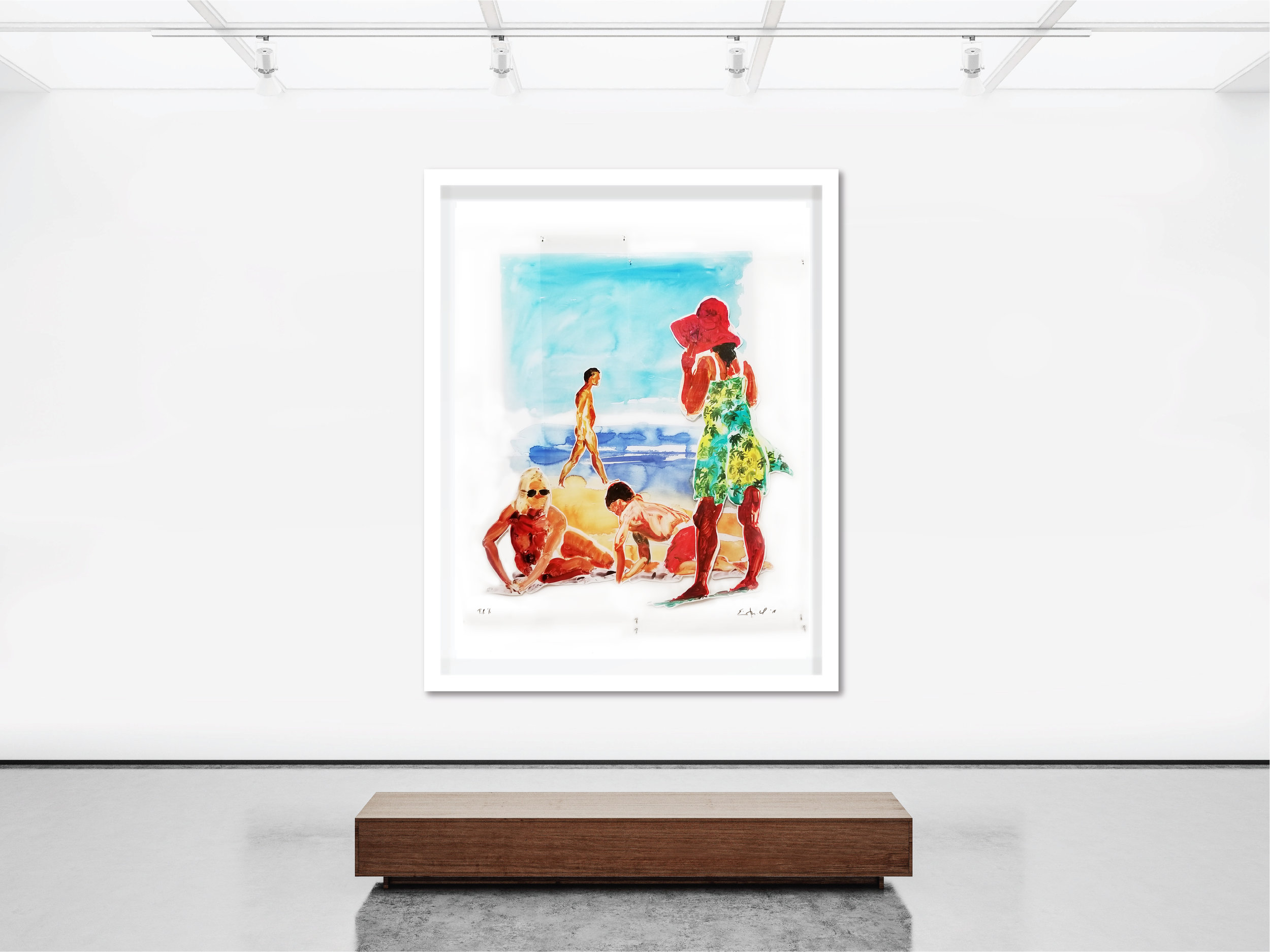 Untitled (2 Women & Boy, large format),  2017  Sublimation on mylar with pins and digital pigment print on paper, mounted to acid-free board
