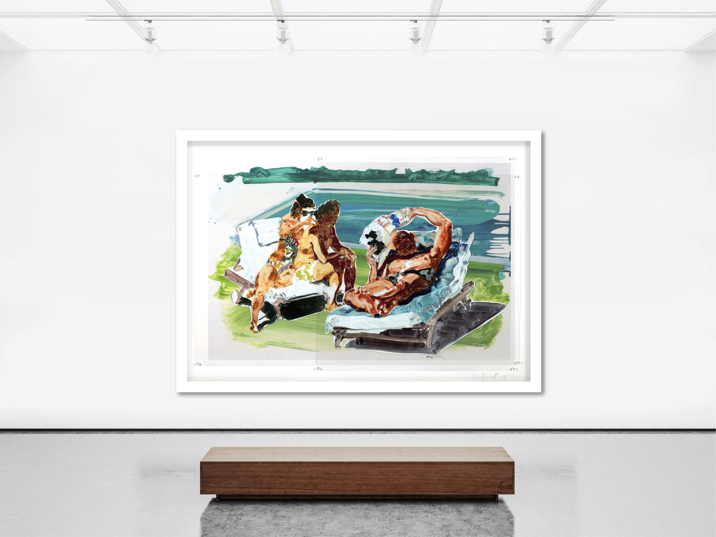 """Untitled (Poolside Loungers, large format) , 2018, 65"""" x 90.5""""  Sublimation on mylar with pins and digital pigment print on paper, mounted to acid-free board"""