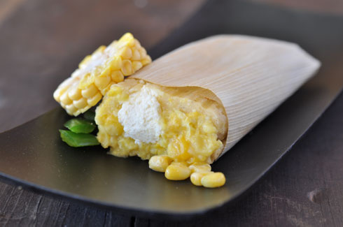 GREEN CORN & CREAM CHEESE - Fresh Corn and mild New Mexican Hatch green chilesmixed into the masa with a mouthwatering cream cheese center. One of our most popular!