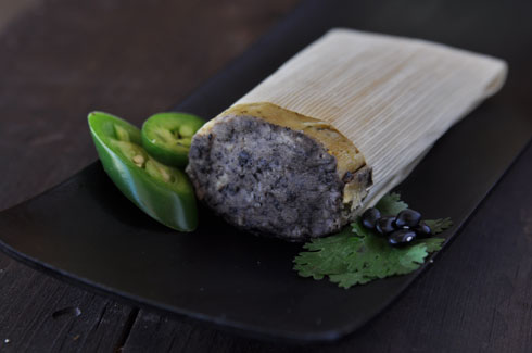 CILANTRO BLACK BEAN - Wonderfully moist and modestly spicy masa made with fresh cilantro, jalapeños, and a delicious black bean center. A real vegan favorite!