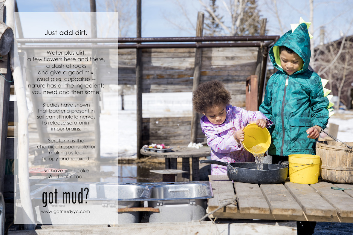 - Making Mud Pies: 8 Ways Muddy Kids are Healthier, thewellnessway.comSoil Bacteria Work in Similar Ways to Antidepressants, MedicalNewsToday.comYes, Getting Dirty Can Act as a Natural Antidepressant, rd.comThe Benefits of Mud Play, Communityplaythings.com