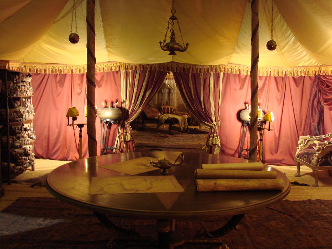 Chancellor Agricola's private tent, shot at Shepperton Studios.