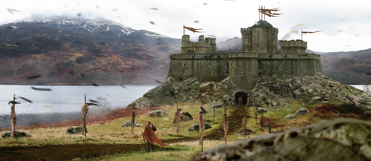 Concept visual of the castle dropped into a Scottish loch location.