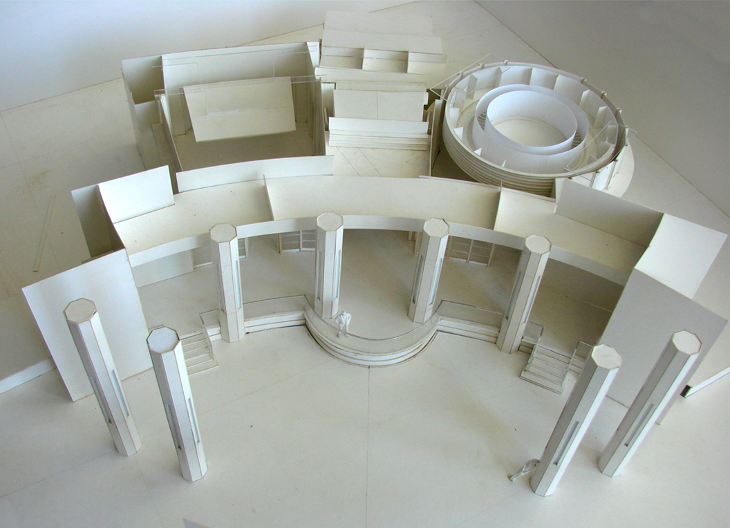 Above: Scale white-card model of the set with miniature figure to show scaleto discuss the scripted withDirector and DoP .