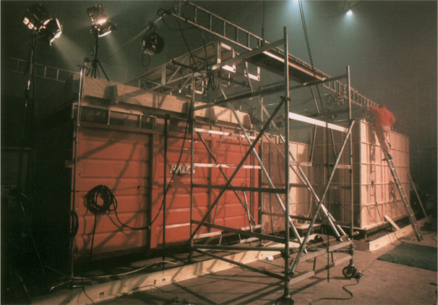 Set built within a container for flooding scenes