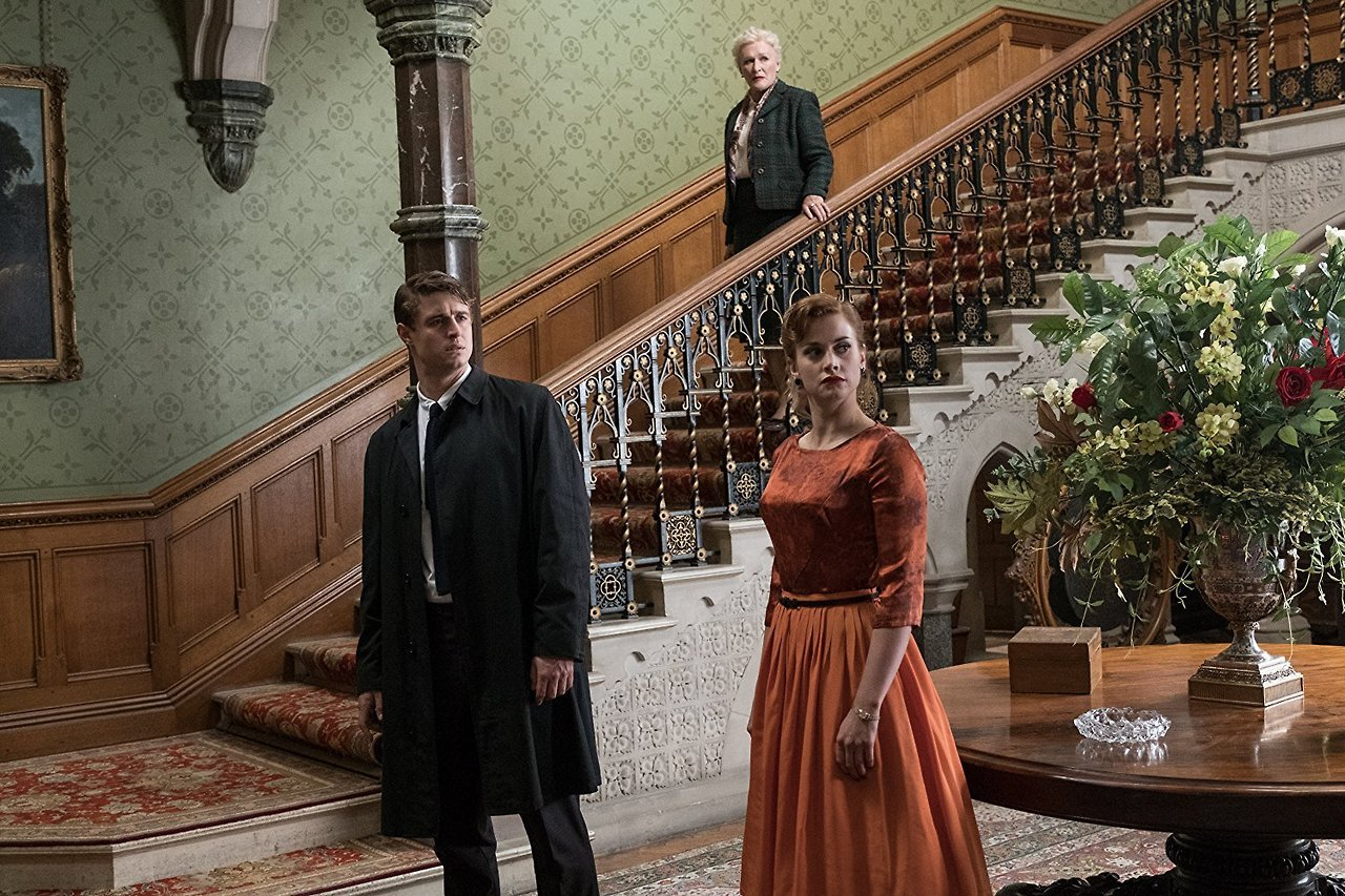 Max Irons, Stefanie Martini and Glenn Close in the Grand Hall.