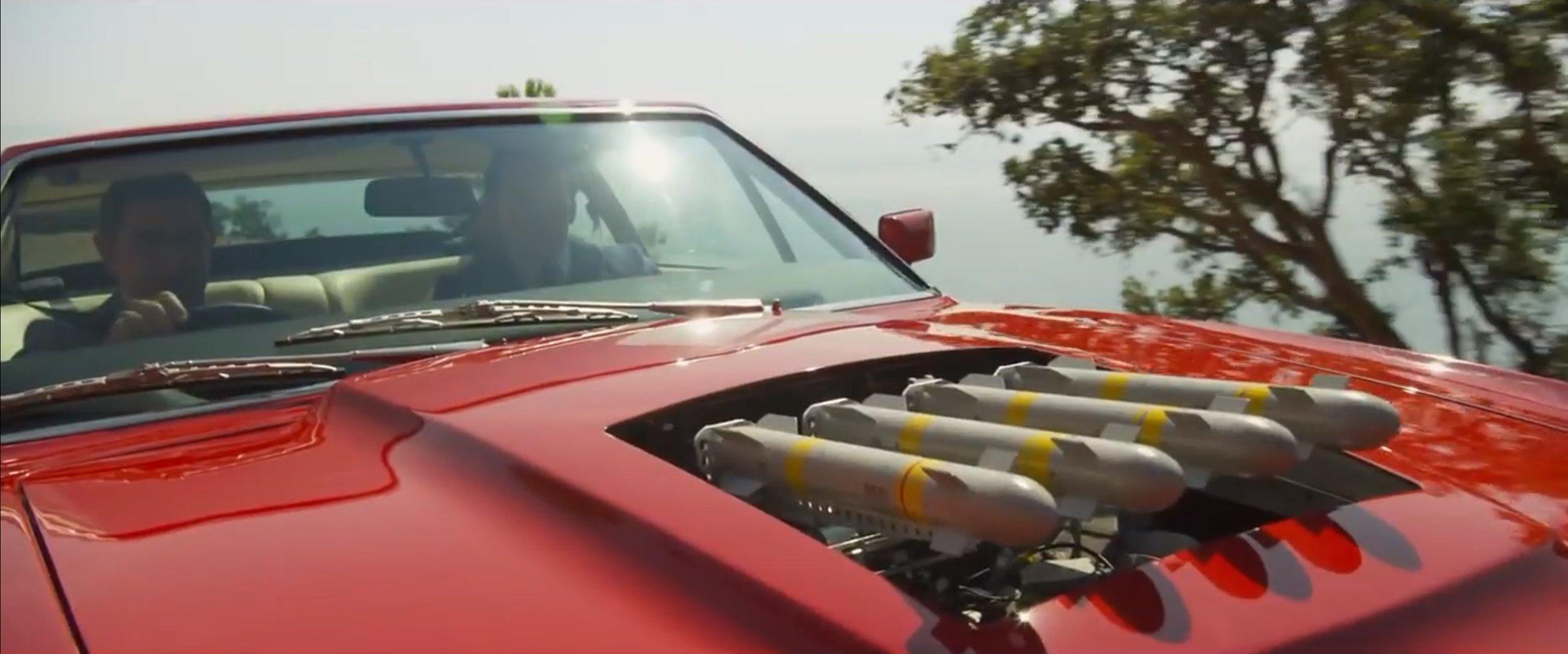 Missile rack built into an Aston Martin Vantage.