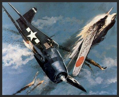 """This action portrays the F6F-5 """"Minsi II"""", flown by the Air Group Commander of VF-15 (Fabled Fifteen) off the carrier Essex . Here Commander David McCampbell is engaged with Japanese aircraft over the Phillipines on October 24, 1944. Commander McCampbell and his wingman intercepted 60 enemy aircraft enroute to an attack on the U.S. Fleet, and in the ensuing fight he shot down nine of the enemy and forced them to abandon their attack. He received the Congressional Medal of Honor for this action."""