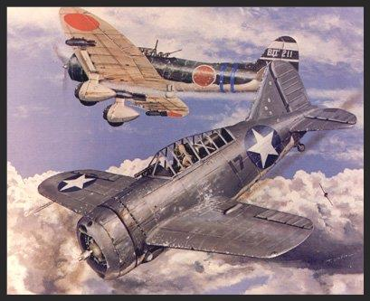 The only combat action involving Buffalos (in U.S. hands) was at the Battle of Midway, where the Marine pilots of VMF-221 flew from the island's airbase and intercepted an incoming Japanese aerial strike. Several Val dive bombers fell to the Buffalo's guns, but they were quickly jumped by Zeros and most were shot down in the ensuing battle. Buffaloes were then withdrawn from front-line duties and never used by U.S. forces in combat again.