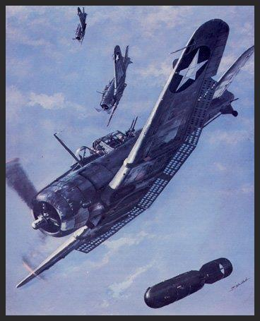 This print shows elements of Lieutenant Commander Clarence W. McClusky's eighteen SBD dive bombers from the USS Enterprise as they plunge from 17,000 feet to pulverize the Japanese carrier Soryu during the Battle of Midway on June 4, 1942. Despite attacks by a variety of U.S. aircraft, only the Dauntlesses were able to score any hits. The victory at Midway turned the tide of the war in the Pacific.
