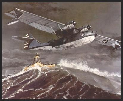 """One of the more famous roles of the PBY was as a rescue aircraft. Many """"May Day"""" victims owed their lives to the """"Cats"""" or """"Dumbos"""", as the great craft were fondly called. This print shows a Catalina as it begins cranking down its wingtip floats in preparation for a water landing somewhere in the Coral Sea. Two more airmen will be saved to fight again."""
