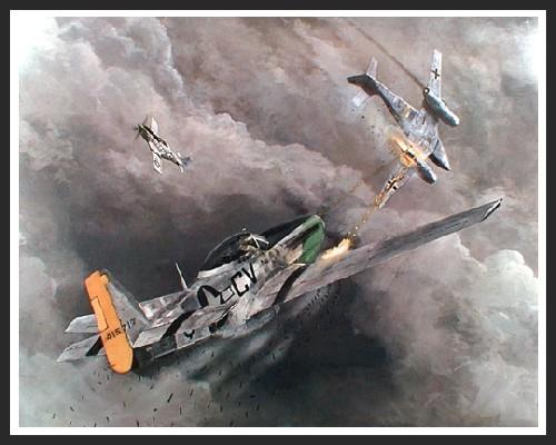 During a bomber escort mission Major Nevin Cranfill (of the 359th Fighter Group) damaged one German ME-262 jet fighter that was pursuing a P-51. He then closed on another ME-262 and commenced firing from 800 yards, downing the German jet.