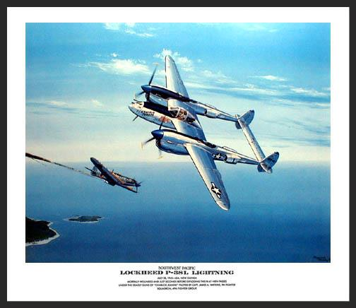 """The first in a series of prints known as """"Southwest Pacific"""", this scene portrays a Lockheed P-38L Lightning passing a Japanese Ki-61 """"Tony"""" fighter that it has just mortally wounded off the coast of New Guinea."""