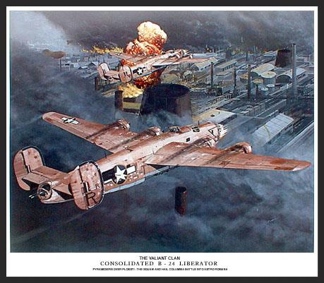 """On August 1, 1943, 178 Liberators made a famous low-level bombing raid on the oil refineries at Ploesti, Rumania. This scene shows John R. """"Killer"""" Kane's B-24 named """"Hail Columbia"""" and another Pyramidier B-24 """"The Squaw"""" making their attack through the thick smoke over the target. These B-24s have a cluster of 50-caliber machine guns mounted in their nose which clears a swath before them."""