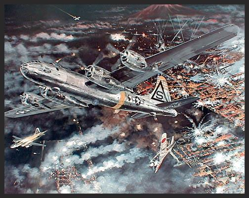 """On May 23, 1945, Mission #181 is undertaken by the B-29s of the 20th Air Force against Tokyo, Japan. The incendiary bombs dropped that night would turn the Japanese capital into a raging firestorm. The print shows a stricken B-29 named """"Eddie Allen"""" coming off the target with a fire beginning near the #1 engine from a dud anti-aircraft round. While the """"Eddie Allen"""" would survive the mission, it would be her last, as the damage she received that night made her unsafe to fly again."""