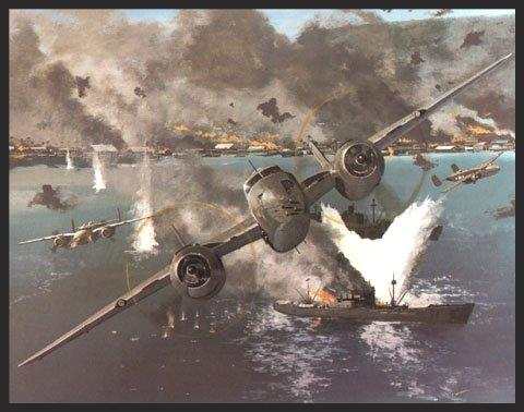 """Many strikes were carried out against the Japanese stronghold at Rabaul. The attack pictured above took place on November 2, 1943 when B-25s and P-38s of the Fifth Air Force braved the massive anti-aircraft defenses of Rabaul to press home their attacks. The B-25 shown above is flown by Major Paul """"Pappy"""" Gunn, and is modified as a strafer with four 50-caliber machine guns in the nose, and two each mounted on the fuselage just underneath the wings. Combined with the '50s in the top turret and using skip-bombing techniques, these aircraft could inflict tremendous damage."""