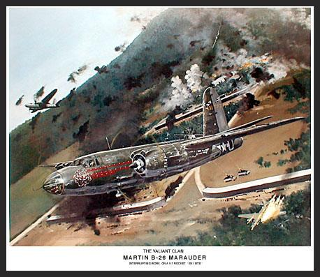 """Despite its reputation as a """"widow maker"""", the B-26 proved to be a great bomber and a truly safe airplane. When the final numbers were in, the Marauder held the record for the lowest combat loss rate of all bombers, less than one-half of one percent. This painting shows the B-26 """"Flak Bait"""" pulling up and away after making an attack run on a German V-1 launching site. """"Flak Bait"""" flew no less than 202 combat missions and is now on display in the National Air and Space Museum in Washington D.C."""