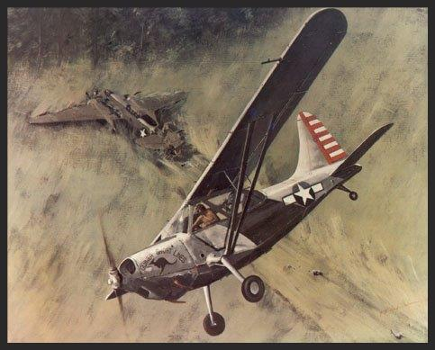 """This particular scene shows a typical mission for an L-5 of the 25th Liason Squadron, better known as the """"Guinea Short Lines"""". An A-20 Havoc bomber has been shot down during an attack on a Japanese base somewhere in the Pacific. Having been discovered by a prowling Sentinel, the downed aviators hacked down enough of the tall Kunai grass to form a makeshift runway. The L-5 put down, and took aboard two of the bomber crewmen, despite a 400-pound gross load limit. Ignoring the limits specified in the L-5's tech order, the L-5 pilot somehow managed to get airborne and threaded his way through the jungle, gaining altitude at every opportunity. Another miraculous rescue, but just a day's work for the men of the """"Guinea Short Lines""""."""