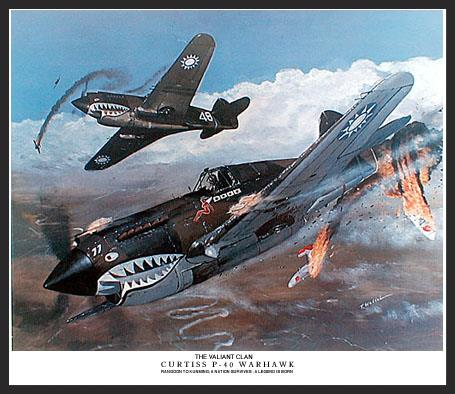 The exploits of the A.V.G. (American Volunteer Group), also known as the Flying Tigers, are now legendary. Their high kill-to-loss ratios and colorful story is well known. During the brief time that the Flying Tigers defended China and Burma against the incursions of the Japanese, they racked up a high kill-to-loss ratio and the gratitude of a nation. Here we see a pair of Tigers downing a Japanese fighter over the winding Burma Road.