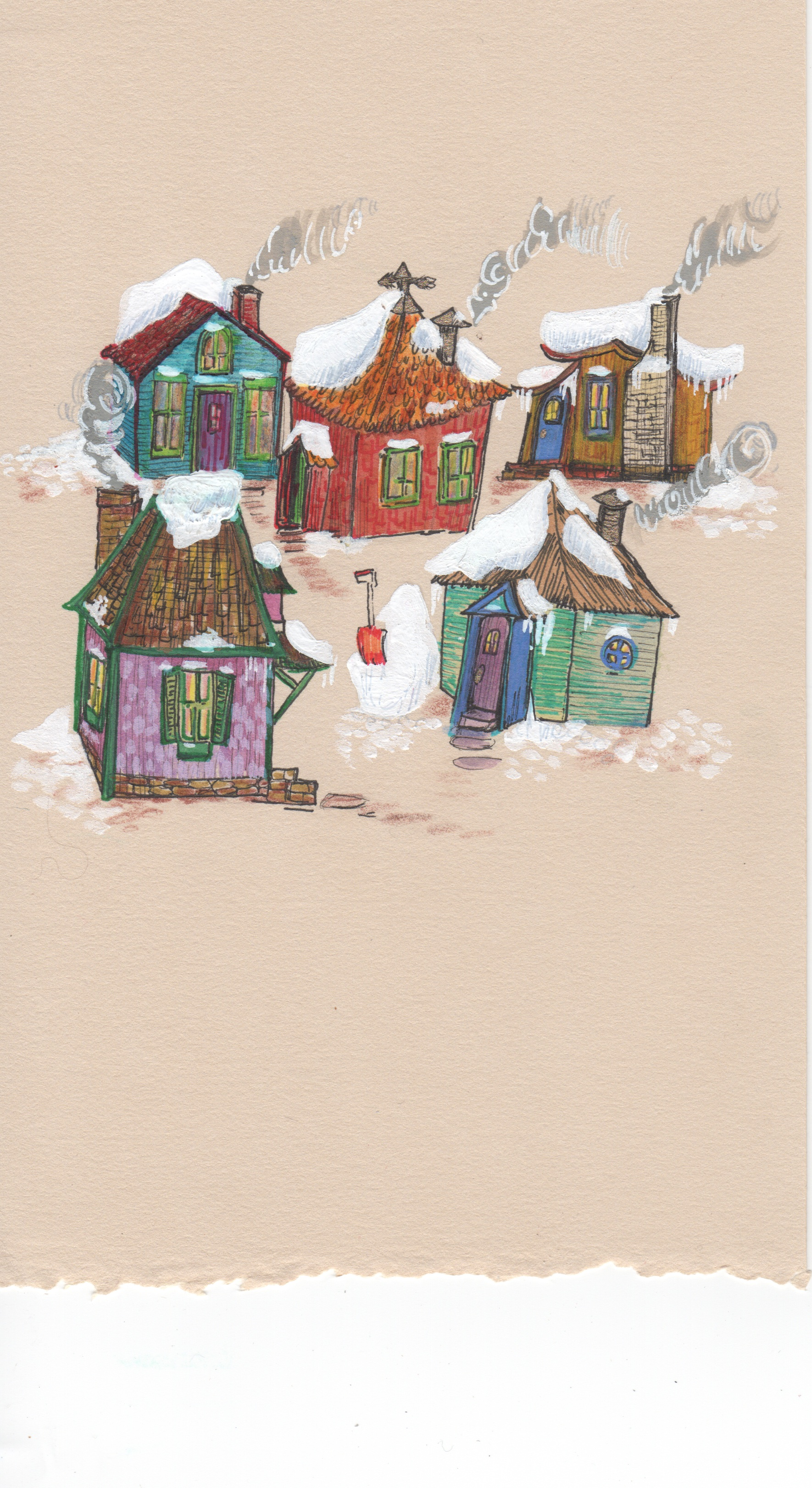 Snowy Houses, gouache, marker and pen on paper, 8 inches by 5 inches, 2013.