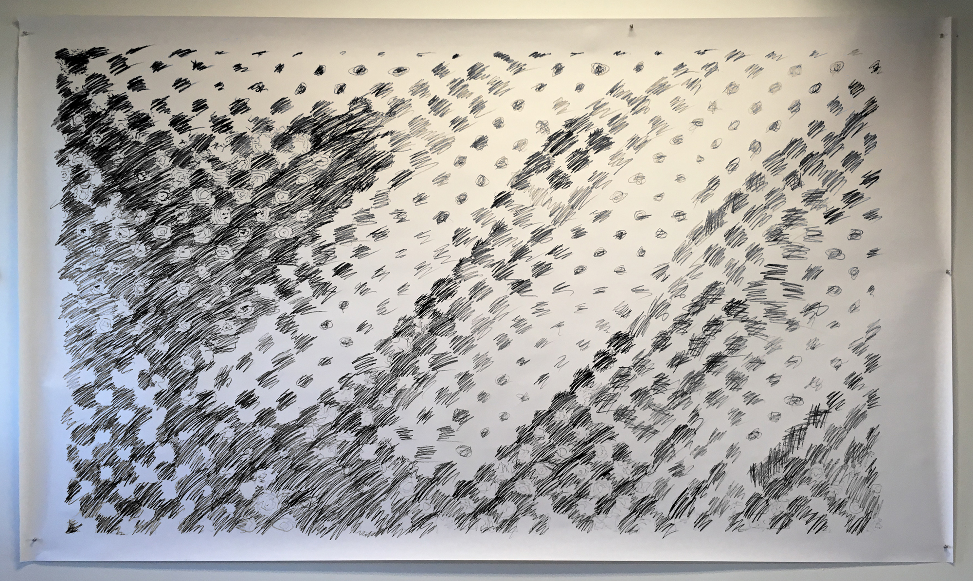 "Untitled. 1972, (study 3) , 2019  White poster bond, graphite  85"" x 60"""