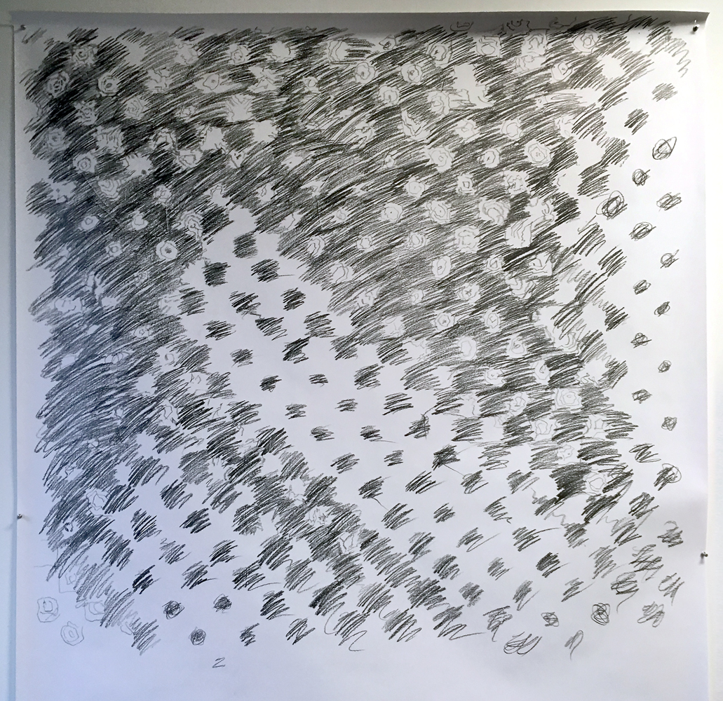 "Untitled. 1972, (study 4),  2019  White poster bond, graphite  60"" x 60"""