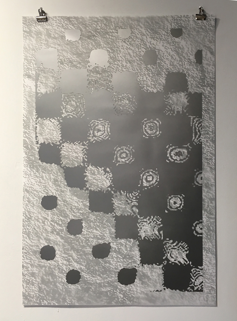 "Untitled. 1972, (transparency study 1),  2019  Laser cut silver vinyl, mylar, digital print on bond paper  16"" x 20"""