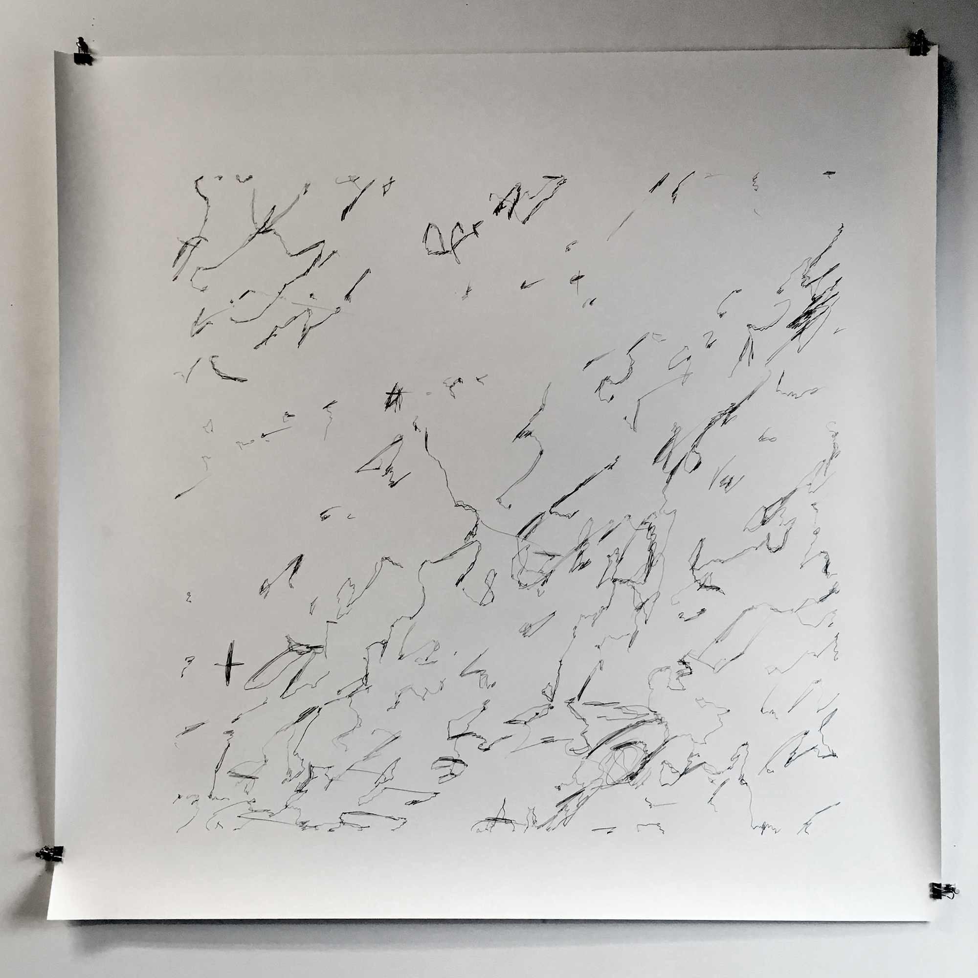 "Silver War Storm, study 1,  2019  Graphite on paper  44"" x 44"""