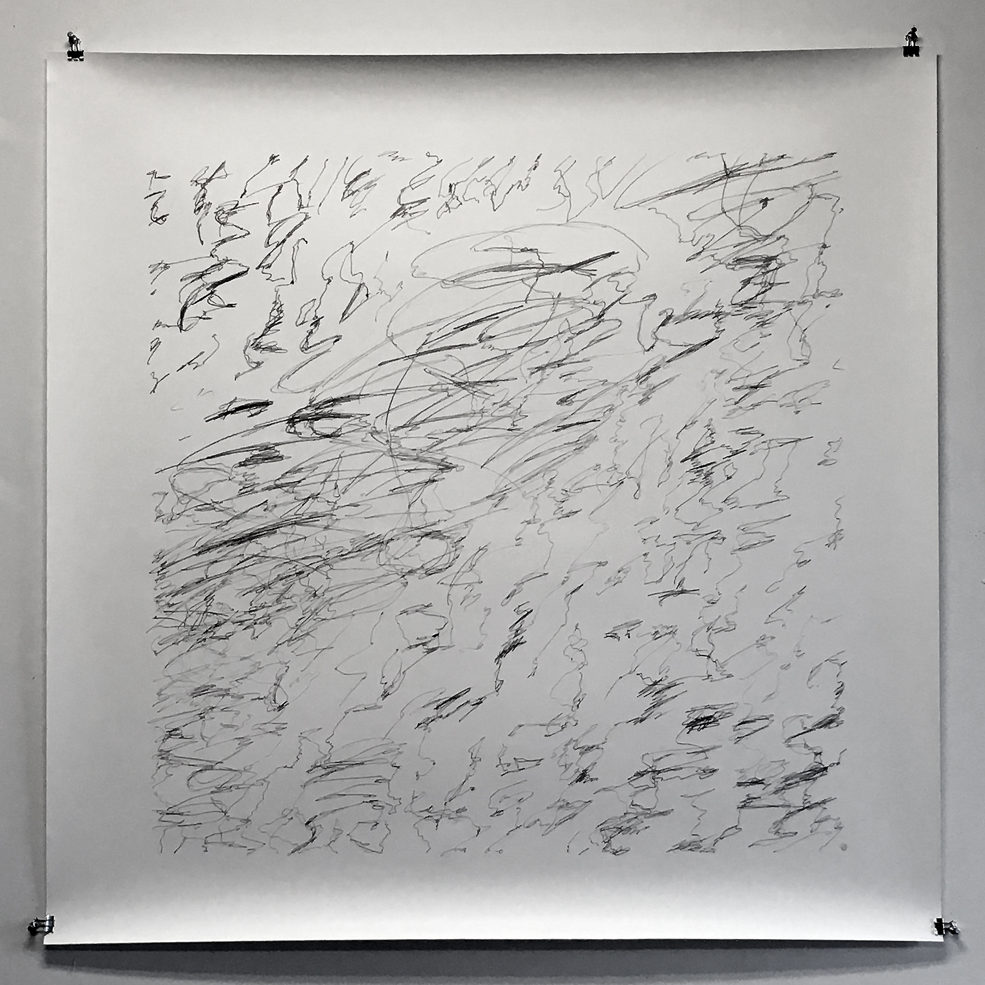 "Silver War Storm, study 2,  2019  Graphite on paper  44"" x 44"""
