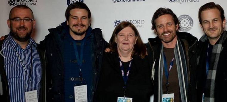 Eric Snider, Jason Ritter, Rob Benedict and Richard Speight Jr with the Oxford Mom, Lynda Addington, in the center at the Oxford Film Festival.