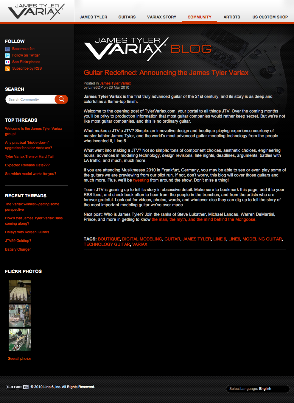 James Tyler Variax » Blog Archive » Guitar Redefined: Announcing the James Tyler Variax.png