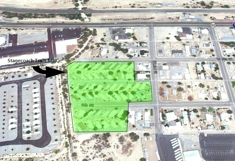 The Stagecoach Trails Manufactured Home Community in Benson, Arizona. The location of Lot 27, the lot in dispute in the legal battle, is not shown.