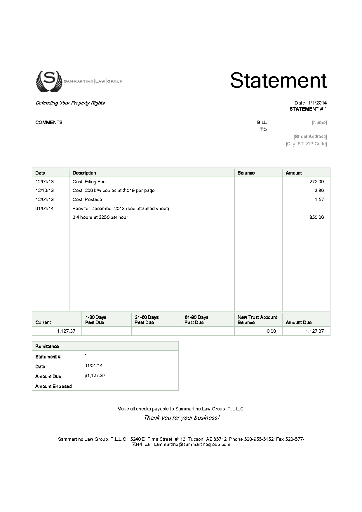 A sample Sammartino Law Group invoice. All amounts are for exemplary purposes only.
