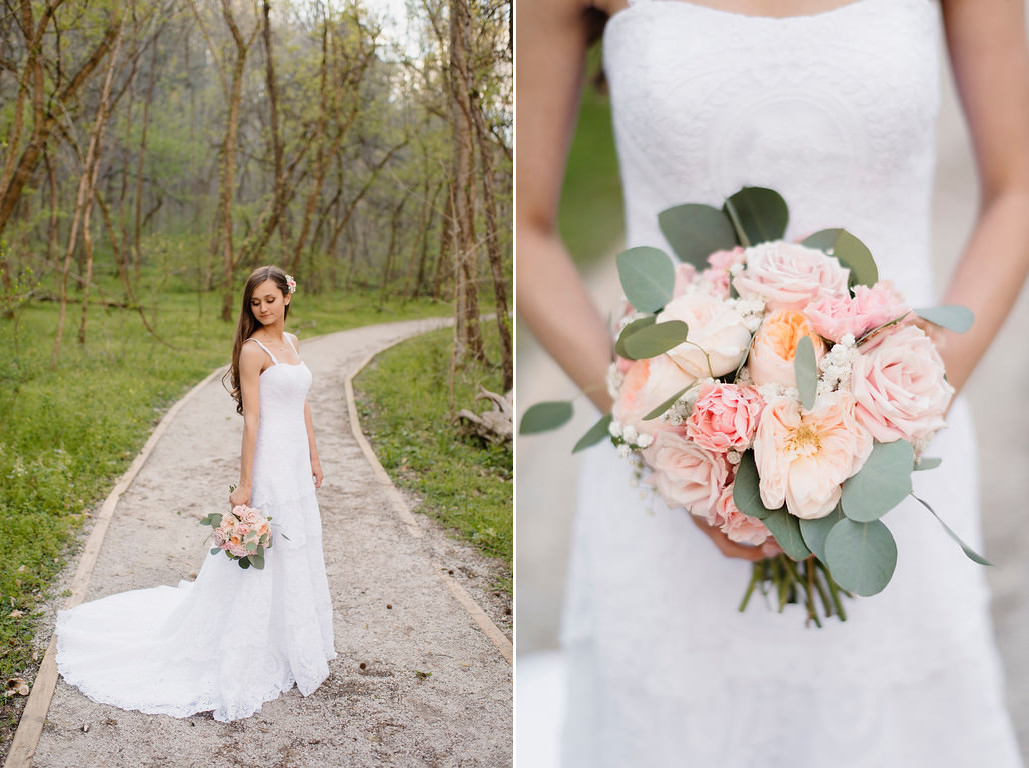 A beautiful bride holds her flowers in the woods by the Buffalo River with Arkansas Adventure Destination Photographer Colby and Jess