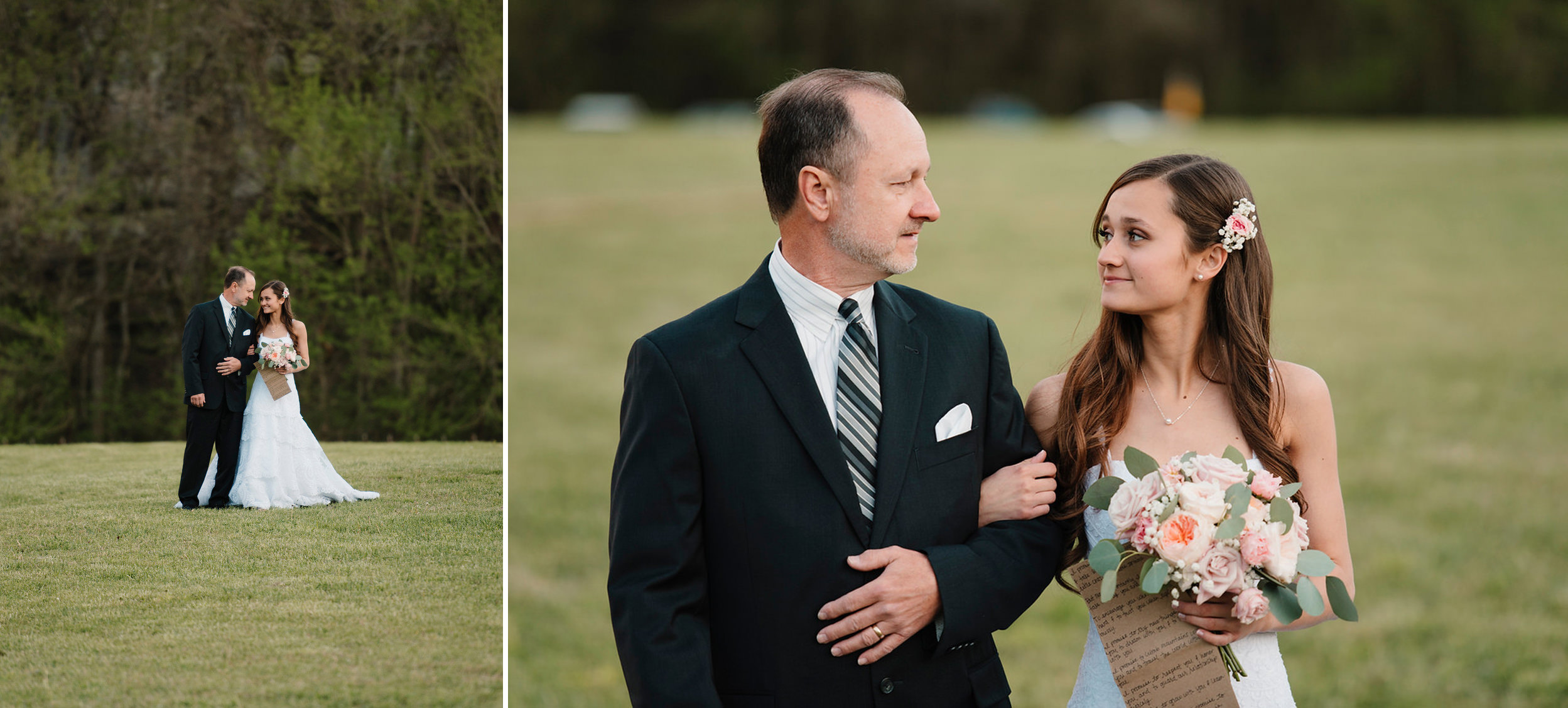 A bride shares a moment with her dad before they walk down the aisle of her Buffalo River Wedding by Arkansas Adventure Destination Elopement Photographer Colby and Jess